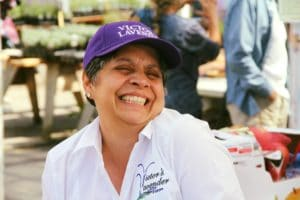 Maribel Gonzalez enjoying the Sequim Lavender Festival