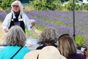 Susan Harrington sharing at the Sequim Lavender Festival